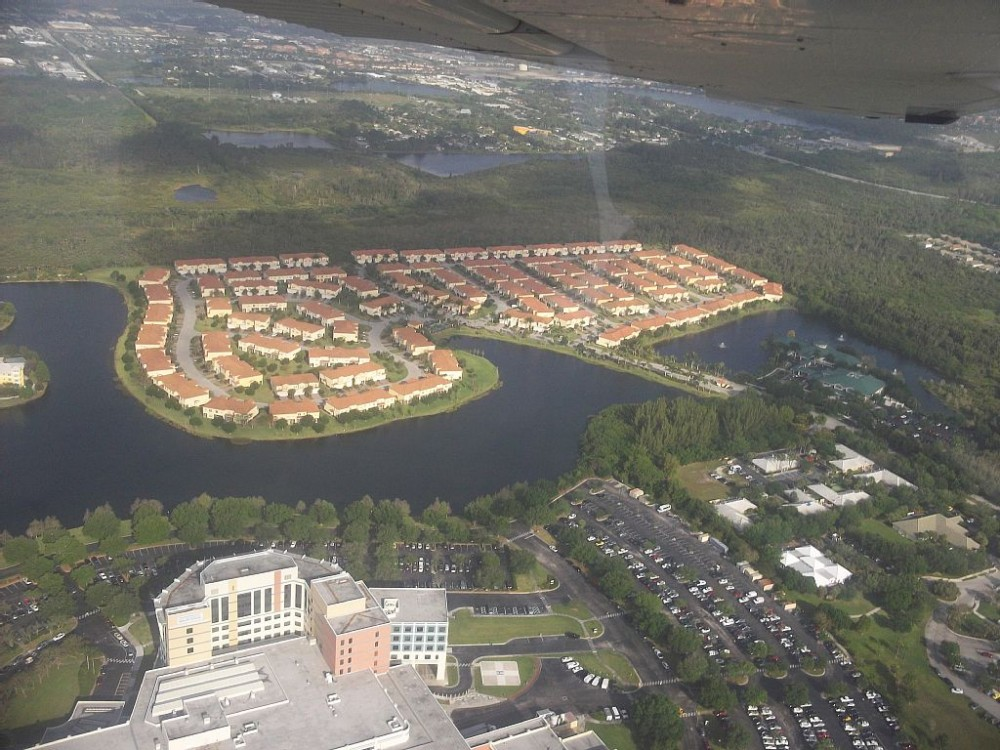 Fort Myers vacation rental with aerial view of Sail Harbour @ Healthpark