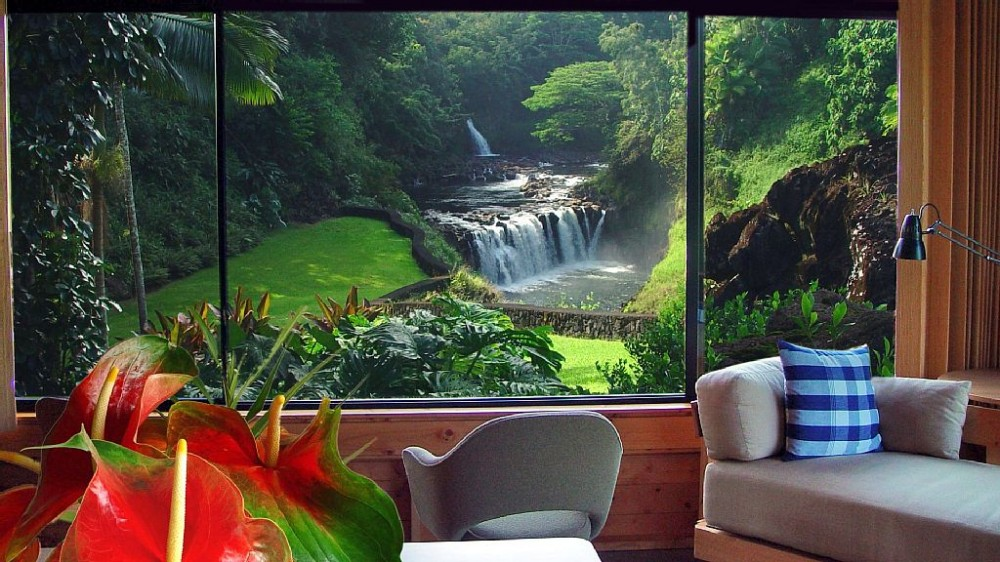 Hilo vacation rental with View from the Family Room Pavilion
