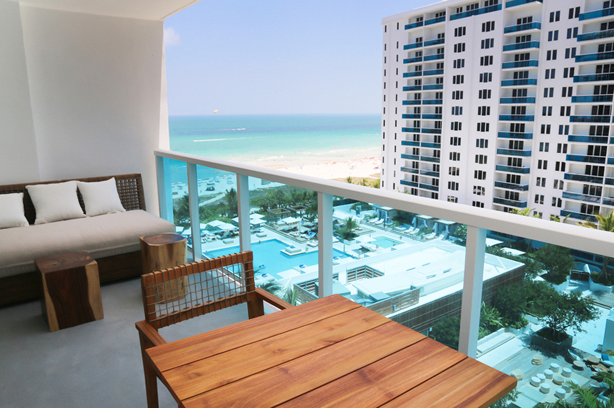1 hotel resident suite ocean and pool view balcony 2341 collins