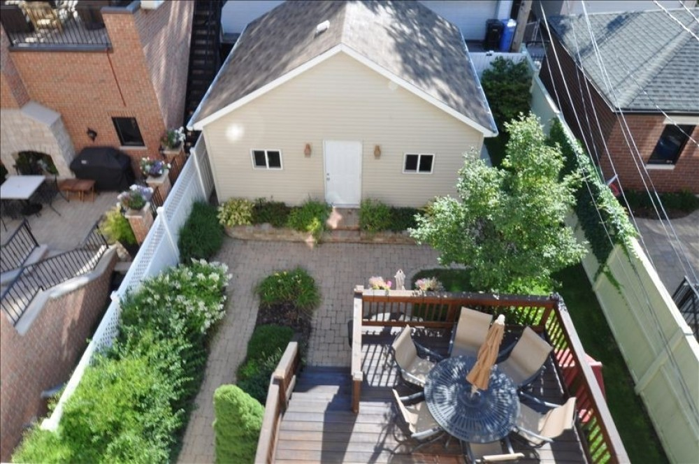 Aerial view of the back yard Airbnb Alternative Chicago Illinois Rentals