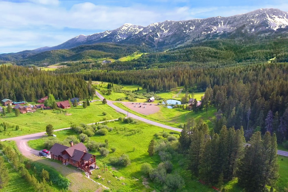 Bridger Canyon - Aerial view over Bridger Vista Lodge Bozeman vacation home