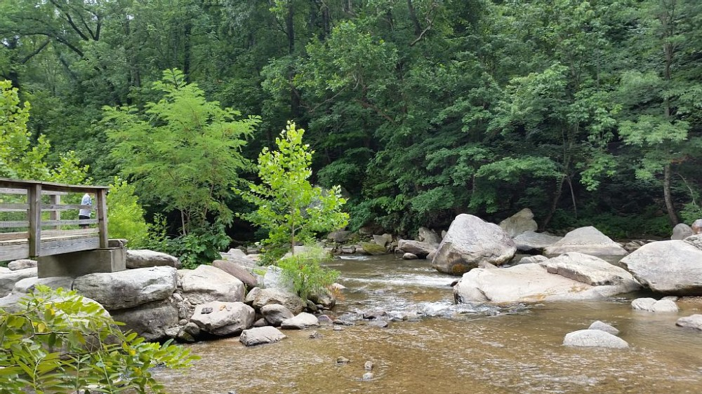 Chimney Rock State Park stream  Mill Spring vacation home