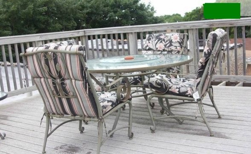Patio chairs and table on our deck Airbnb Alternative Chicago Illinois Rentals