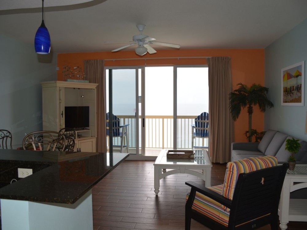 Panama City Beach vacation rental with Living room overlooking the beautiful Gulf!