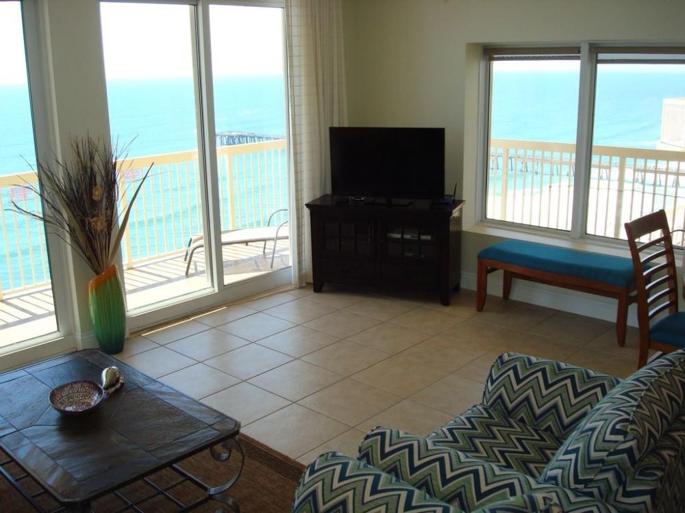 Panama City Beach vacation rental with Living area w/ beautiful views of the Gulf
