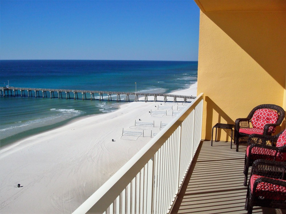 Panama City Beach vacation rental with View from balcony of CIty Pier to the West