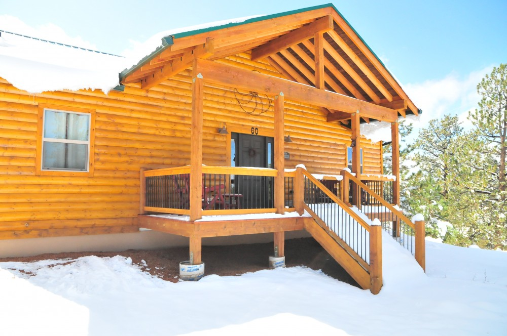 Cripple Creek vacation rental with Log Cabin with covered front deck