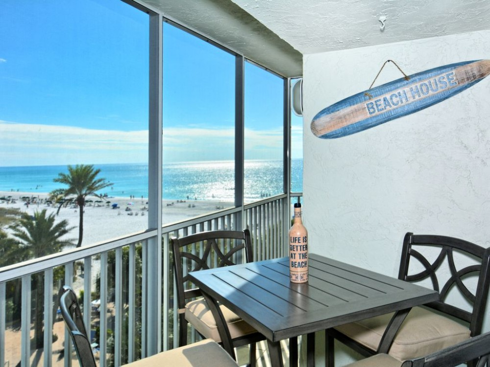 Siesta Key vacation rental with Private screened lanai with perfect Gulf view