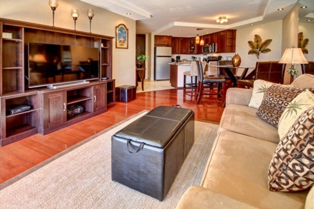 Kihei vacation rental with Living Area looking with 55 inch Smart TV