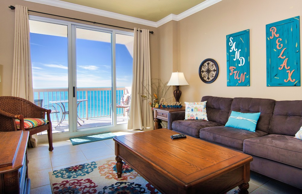 Panama City Beach vacation rental with Living Room has balcony access and fabulous gulf view
