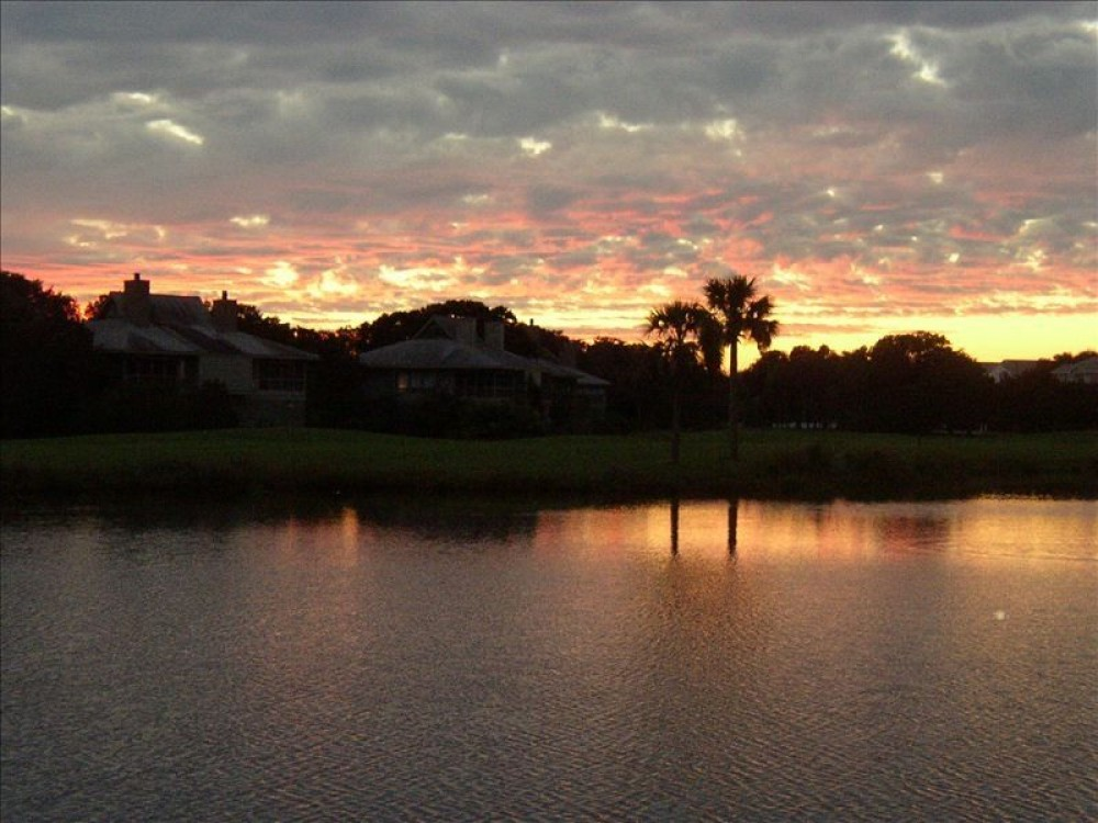 Edisto Beach vacation rental with Sunset over the resort