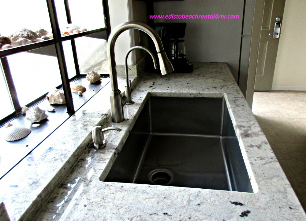 New Granite counter tops and stainless steel sink Edisto Beach vacation home