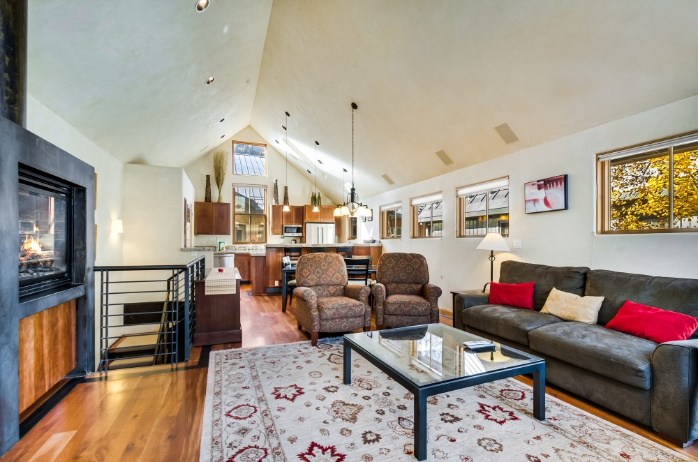 Telluride vacation rental with Living area looking toward the kitchen