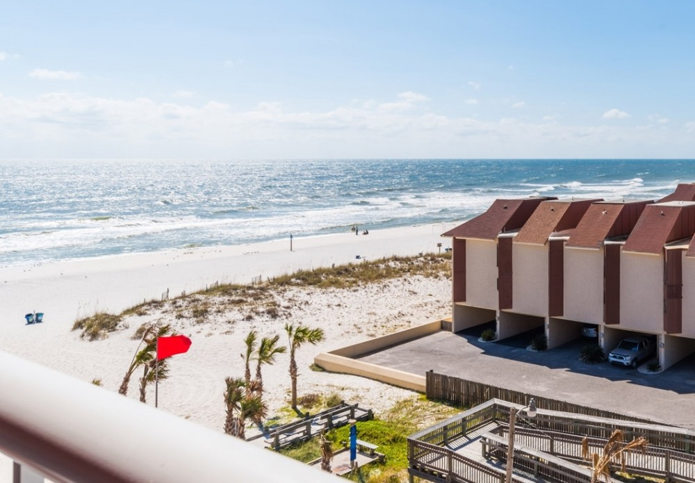 Gulf Shores vacation rental with Beautiful view from over sized balcony  See the Gulf and Little Lagoon