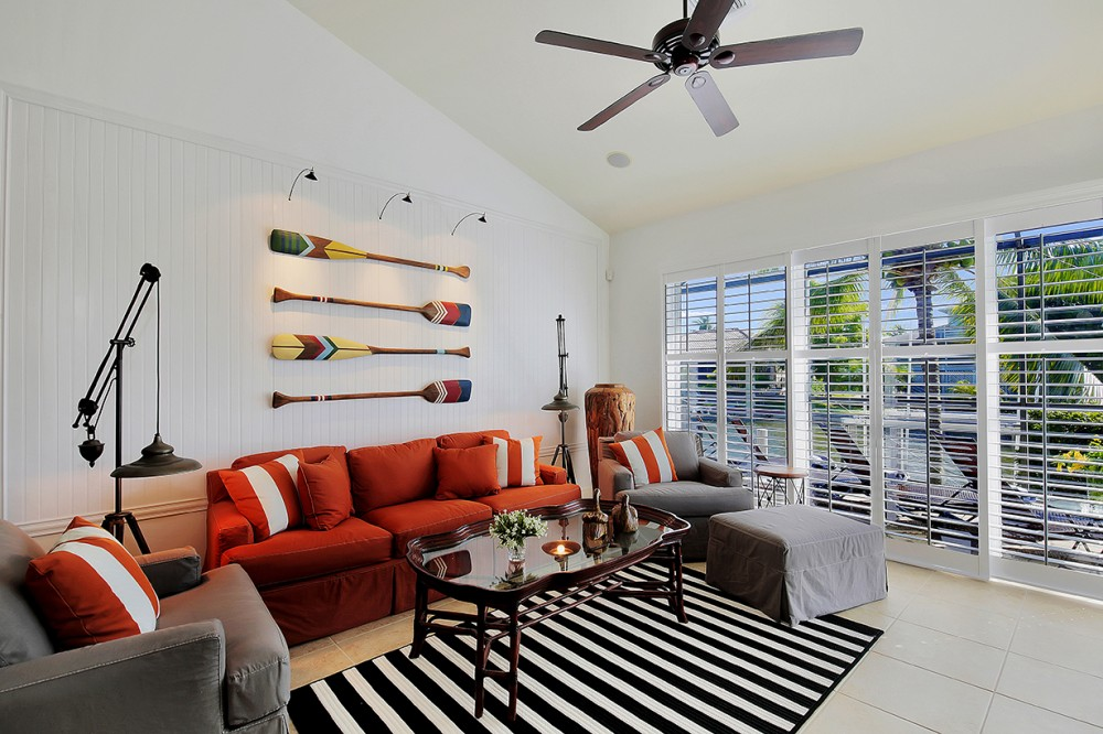 Marco Island vacation rental with Costal sitting area with a great water view and flat screen TV