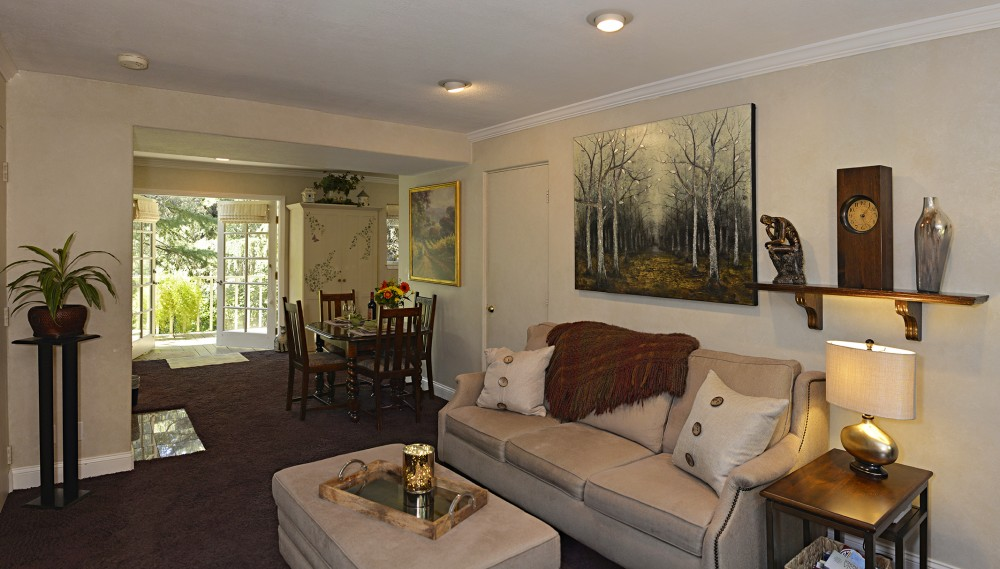 Napa vacation rental with Living & Dining area towards entry.