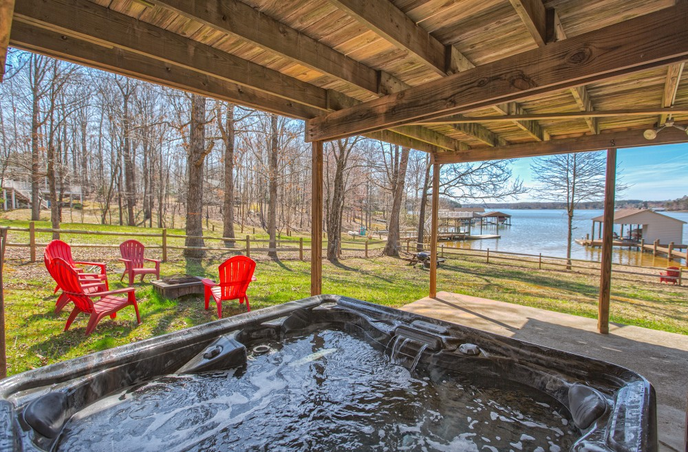 Moneta vacation rental with Hot tub overlooking those sunsets on the lake