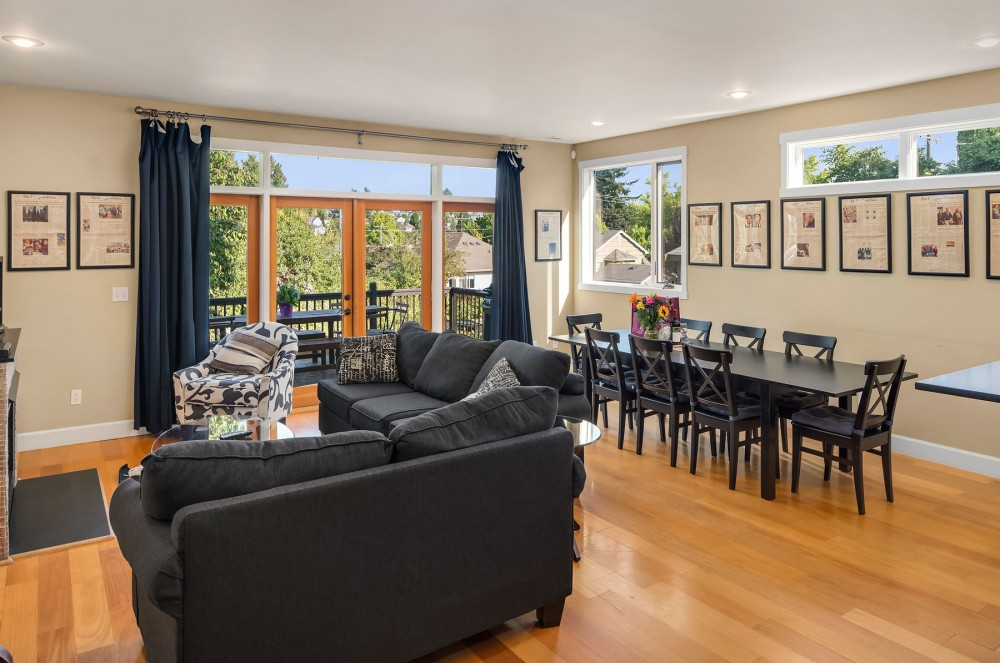 Seattle vacation rental with The expansive main living area is warm and inviting    perfectly made for family reunions  gatherings of friends  or groups of wedding goers