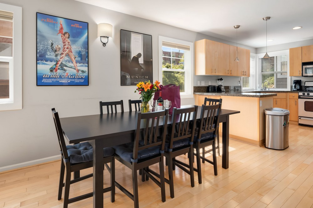 Seattle vacation rental with The large dining table has plenty of room for family meals