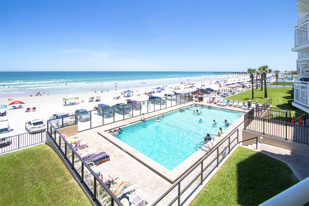 Daytona Beach Shores vacation rental with POOL AND SOUTHERN VIEW FROM BALCONY