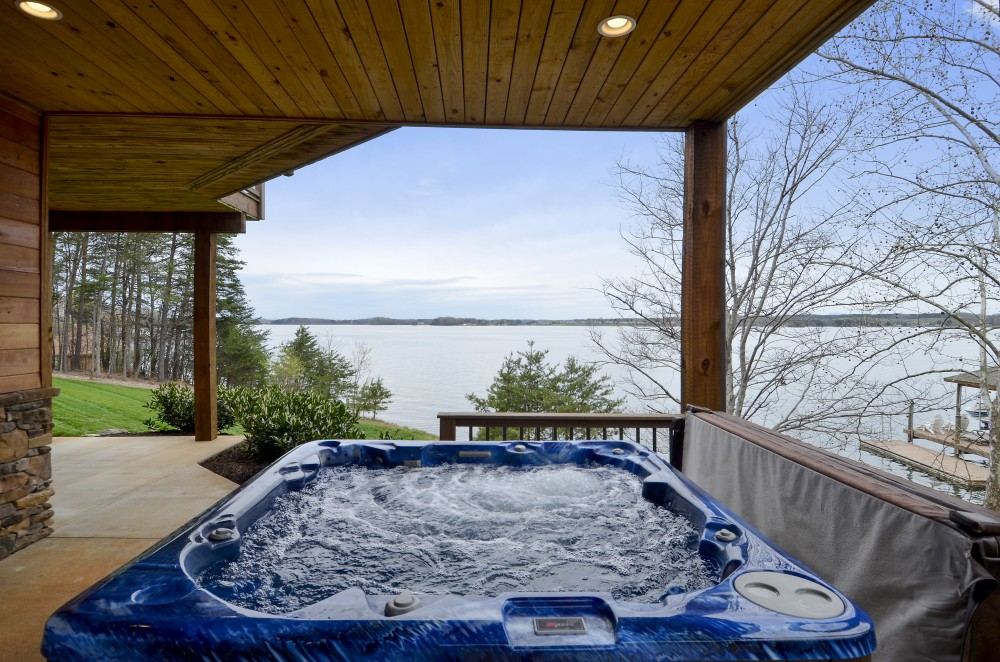 Huddleston vacation rental with Impressive Waterfront Home Hot tub Fireplace Sauna  Beach