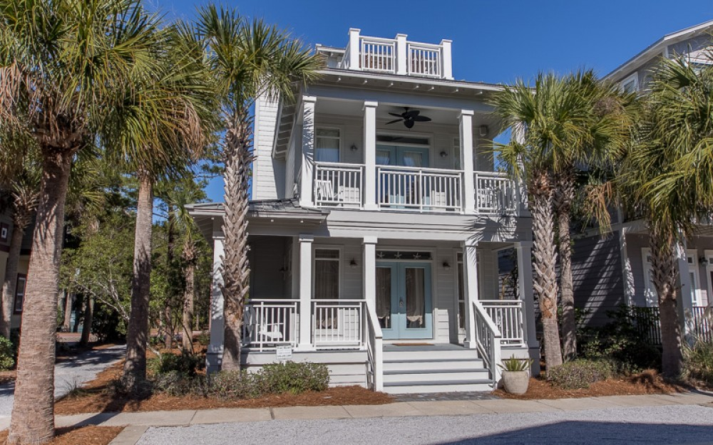 Seacrest Beach vacation rental with Front shot of Starry Nights and the many porches and decks to relax on