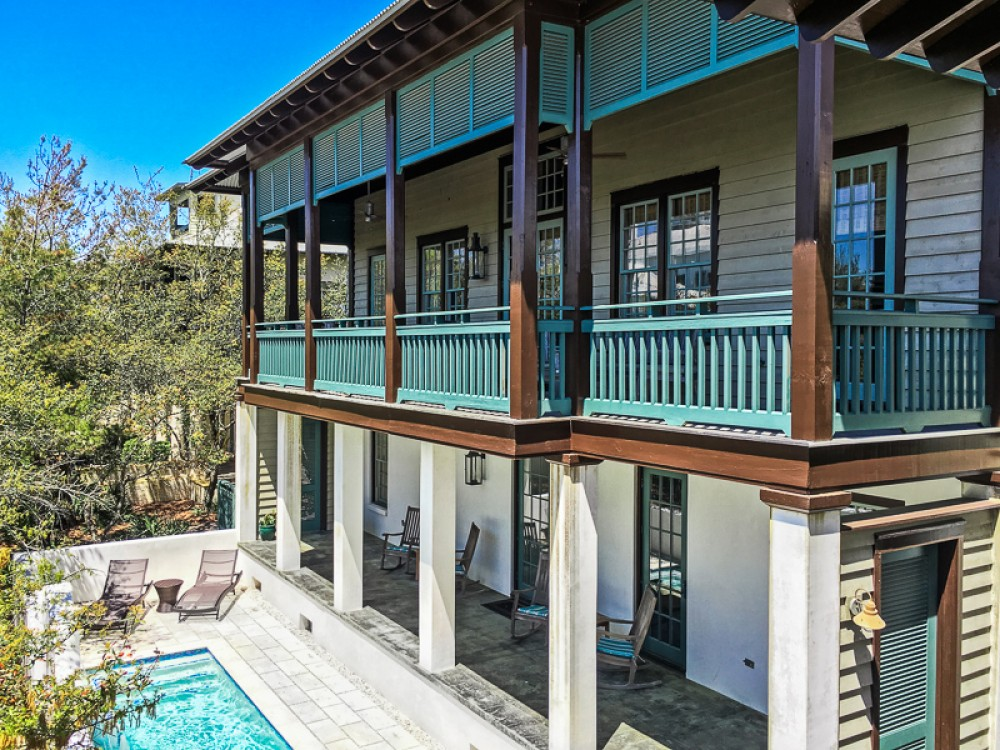 Rosemary Beach vacation rental with Front of Bon Temps with heated pool in front courtyard