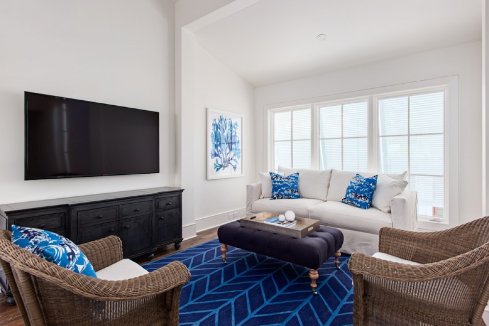 Rosemary Beach vacation rental with Living Room with Queen Sleeper sofa and 60 inch HDTV with HD Cable