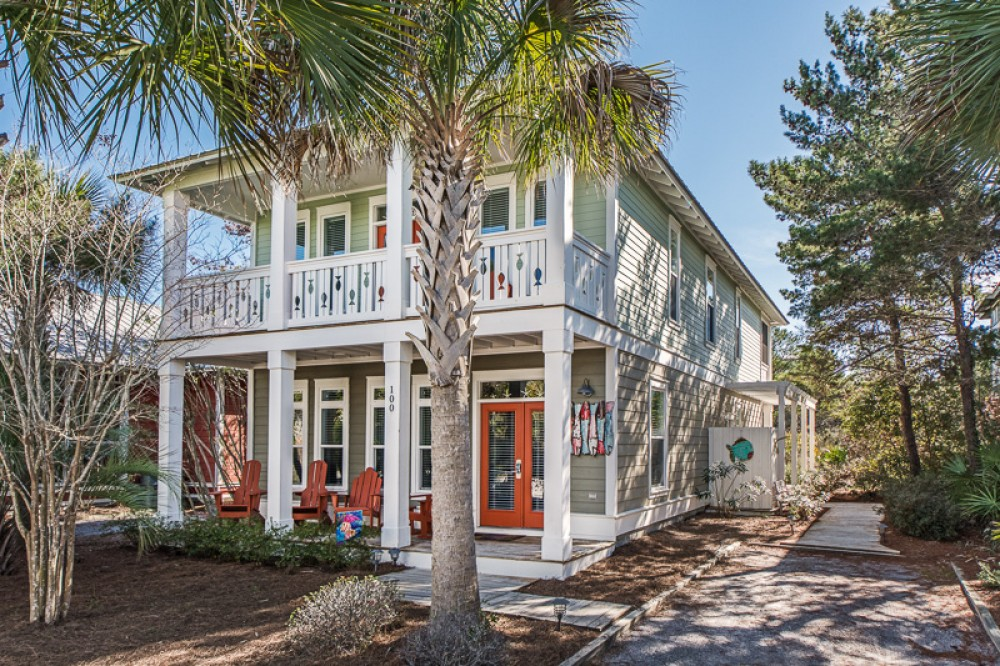 Seacrest Beach vacation rental with Front shot of fish house with dedicated parking pad to right