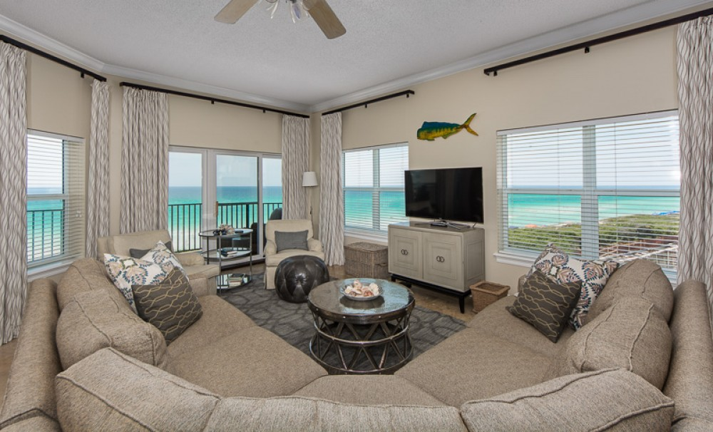 Seagrove Beach vacation rental with Living room with spectacular views of the gulf to the south and south west