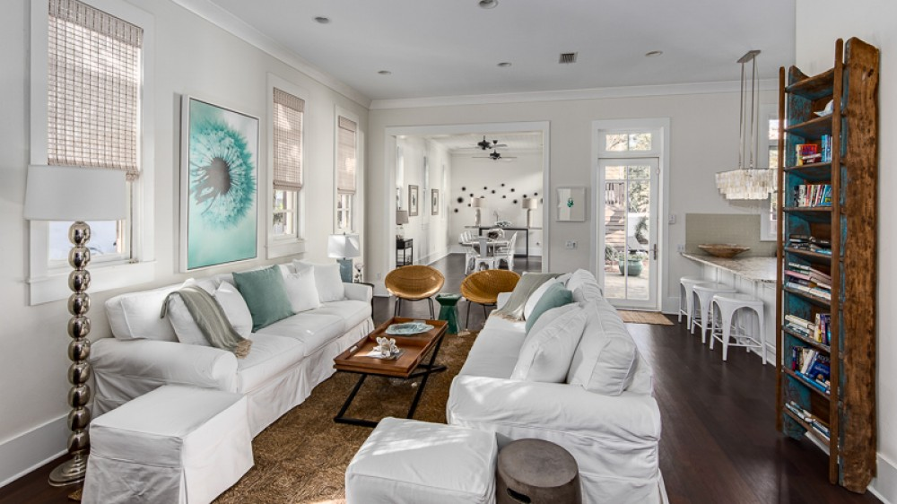 Rosemary Beach vacation rental with View of living room from front door  All new furnishings