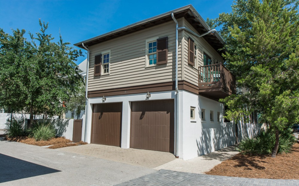 Rosemary Bch vacation rental with Garage view of carriage house  You have one garage parking spot to use