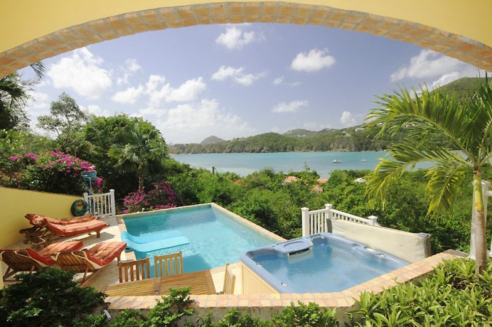 Cruz Bay vacation rental with Your view from the deck off the bedrooms (the lower deck)