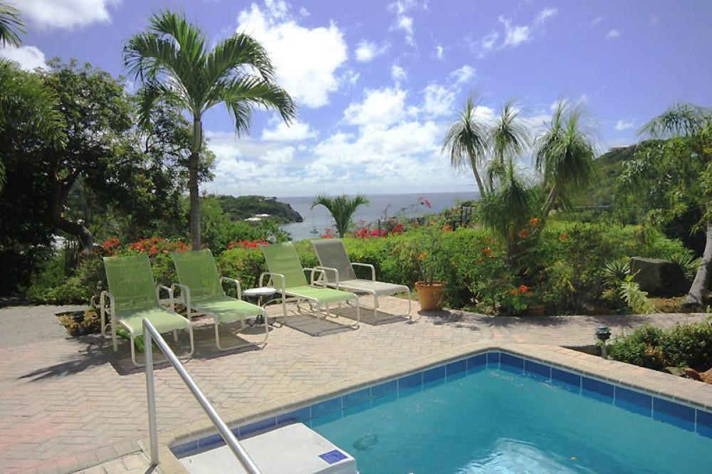 Cruz Bay vacation rental with The view to the south overlooks the harbor at Chocolate Hole