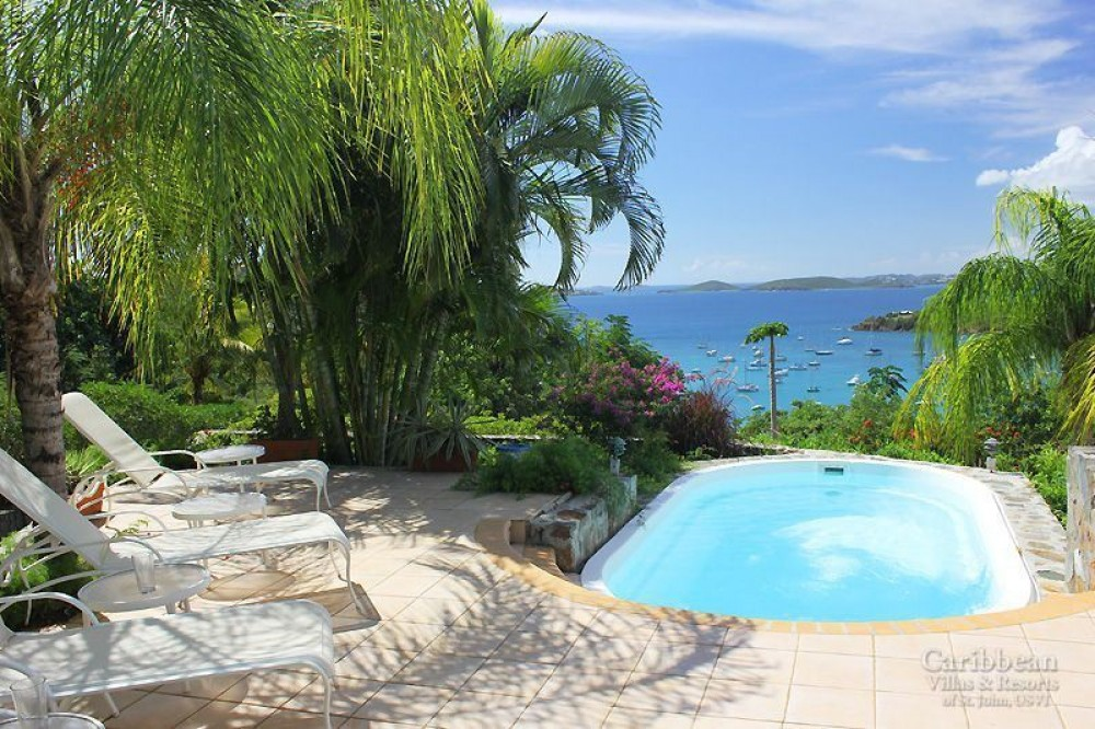 Cruz Bay vacation rental with The view from your sundeck and pool