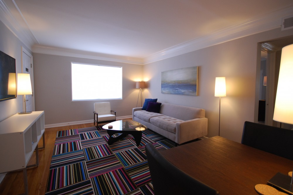 Atlanta vacation rental with Brookwood Courtyard Condos - Designer Living Room