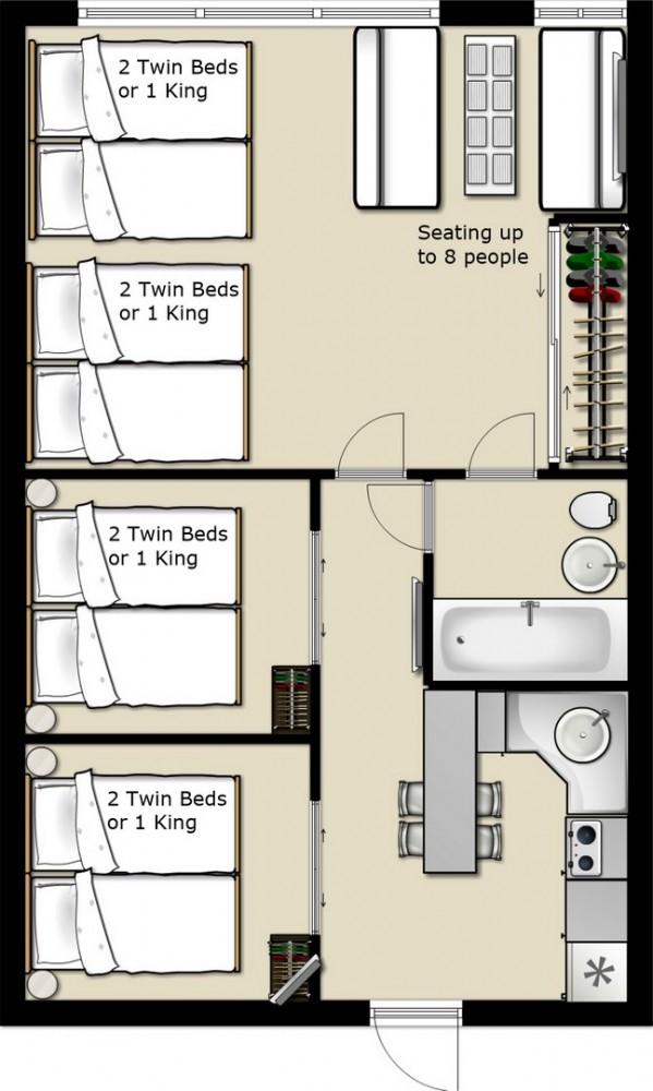 Floor plan Art Deco Suite Miami Beach vacation home